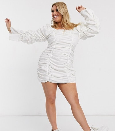 Public Desire Curve Bardot Dress with Extreme Ruching in Cotton