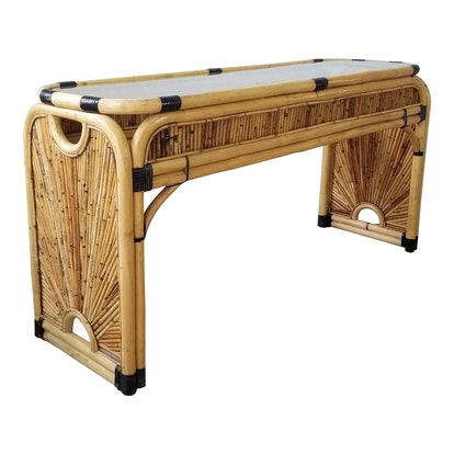 Vintage G. Crespi Style Pencil Reed Rattan Console Table