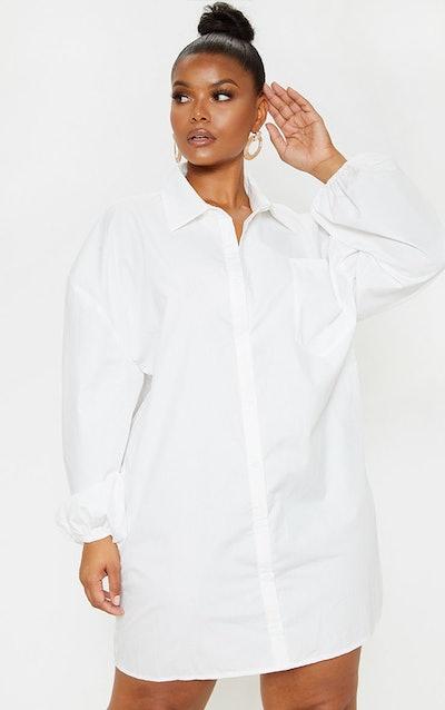 Pretty Little Things Plus White Oversized Puff Sleeve Shirt Dress