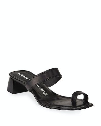 Ellis Toe-Ring Leather Slide Sandals