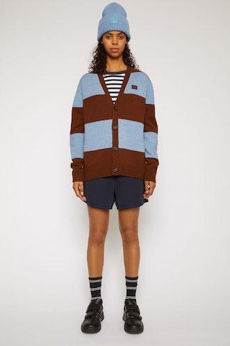 Block stripe cardigan dark brown/mineral blue
