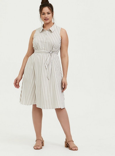 Torrid Taupe & White Stripe Poplin Shirt Dress