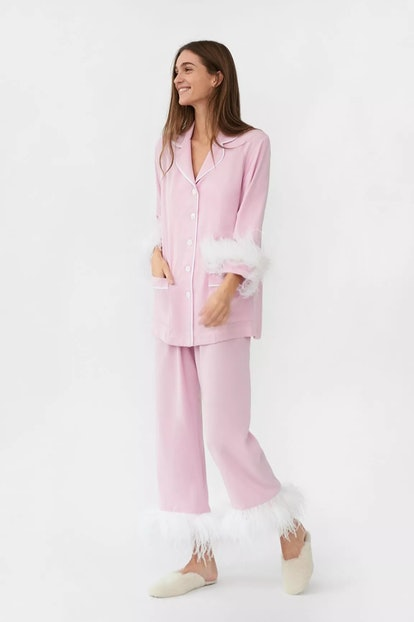 Party Pajama Set with Feathers in Pink