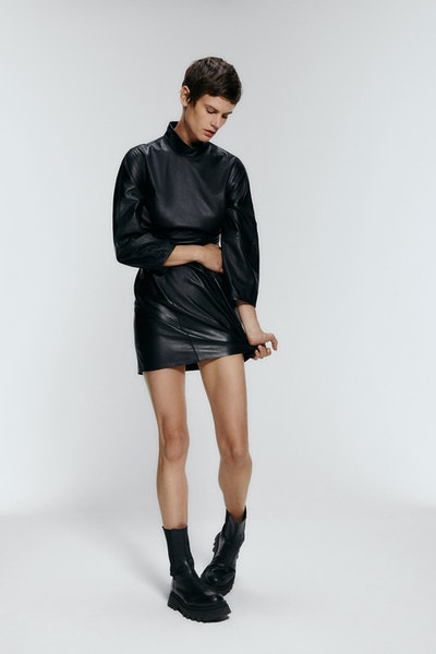 Gathered Leather Mini Dress