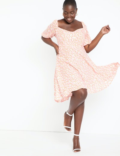 Eloquii A-Line Dress with Puff Sleeves