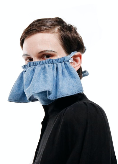 69 Denim Ruffle Mask