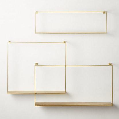 Antiqued Brass Floating Shelves (Set of 3)