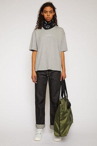Reflective face motif t-shirt light grey melange`