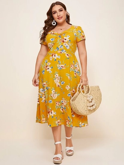 SHEIN Plus Ruched Front Sweetheart Neck Floral A-Line Dress