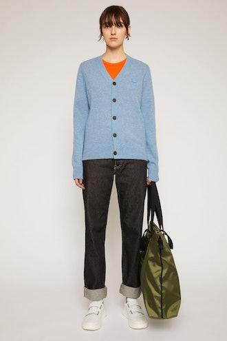 V-neck wool cardigan mineral blue