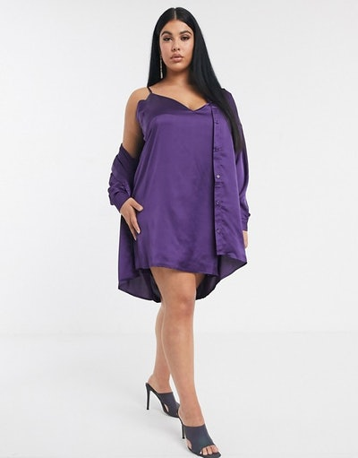 Missguided Plus Two-Piece Satin Shirt Dress