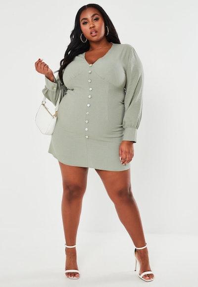 Missguided Plus Size Sage Button Front Mini Tea Dress