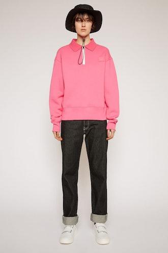Oversized point collar sweatshirt bubblegum pink