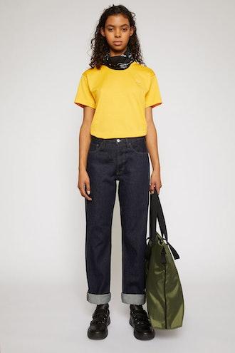 Face patch jeans indigo blue