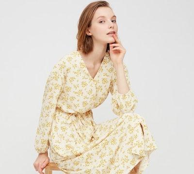 WOMEN JOY OF PRINT CREPE JERSEY LONG-SLEEVE DRESS