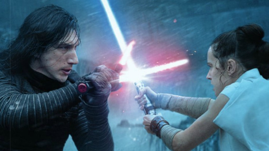 Kylo and Rey lightsaber face off