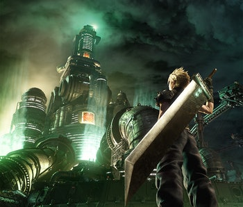 Cloud gazes at the imposing headquarters of Shinra Corporation at the heart of Midgar.