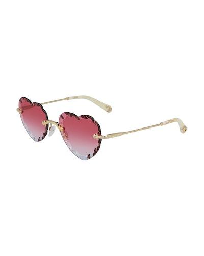 Rimless Heart-Shaped Scalloped Sunglasses