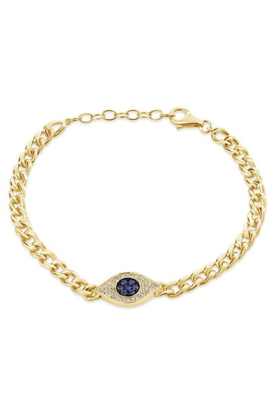 London Collection 14K Gold Link Bracelet with Diamond and Sapphire Evil Eye
