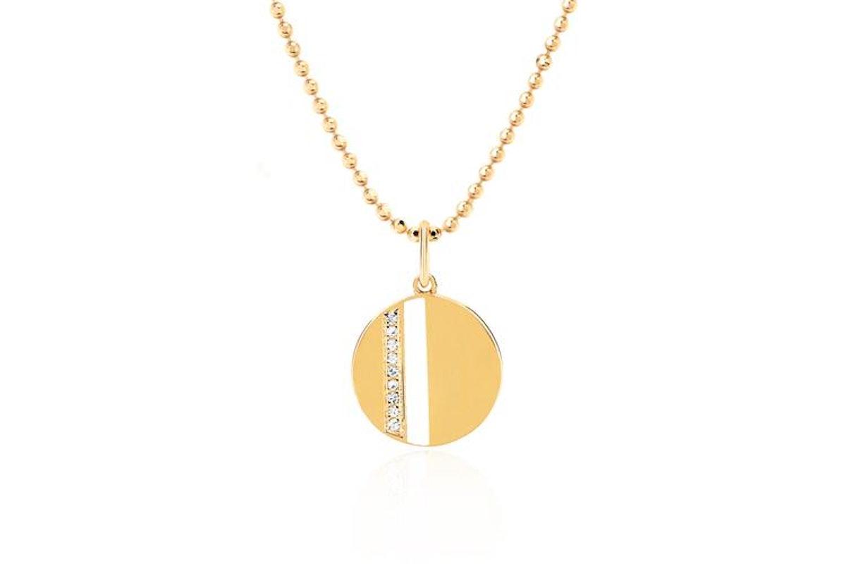 Mini Disc Necklace With Diamond White- Enamel Stripe