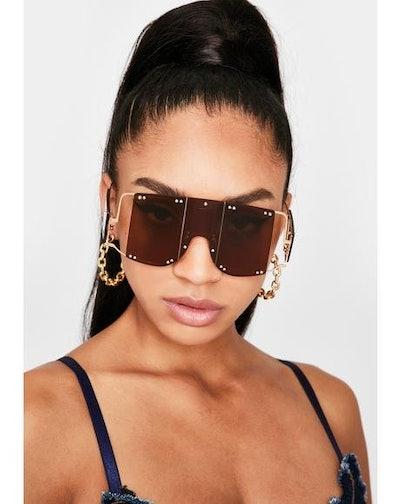 Dolls Kill Mocha Club Clout Shield Sunglasses
