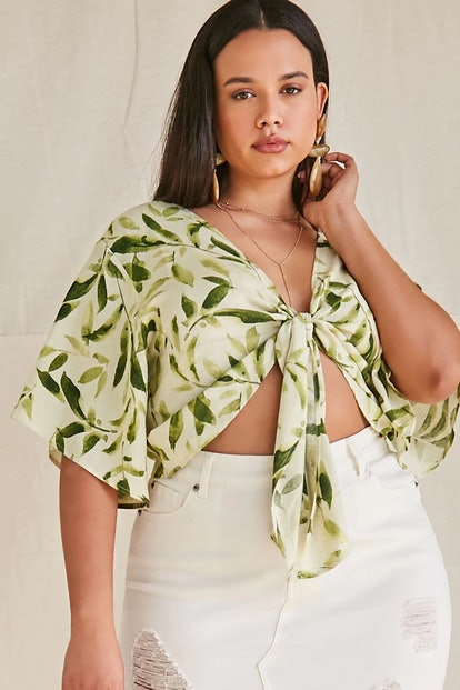 Forever 21 Plus Size Leaf Print Tie-Front Top