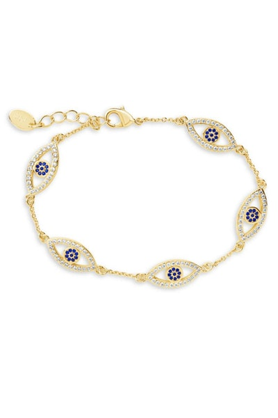 Sterling Forever Crystal Evil Eye Bracelet