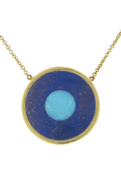 Jennifer Meyer Lapis Inlay and Turquoise Center Evil Eye Pendant Necklace