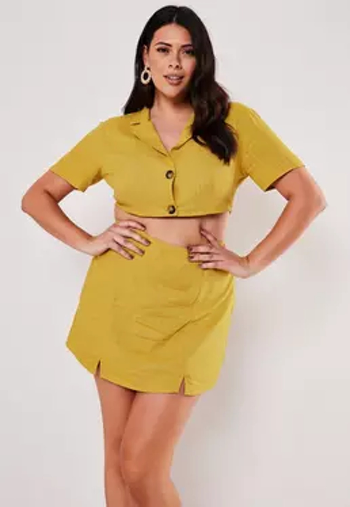 Missguided Plus Size Yellow Co Ord Linen Look Cropped Shirt