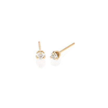 14K Large Diamond Prong Studs