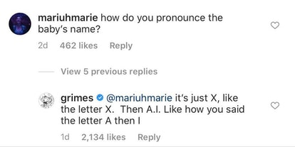 "Grimes revealed that her newborn's name is pronounced ""X A I""."