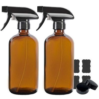 STARSIDE Amber Boston Glass Spray Bottles (2-Pack)