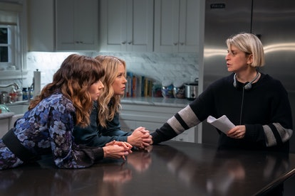 Linda Cardellini, Christina Applegate, and showrunner Liz Feldman on the set of 'Dead to Me'