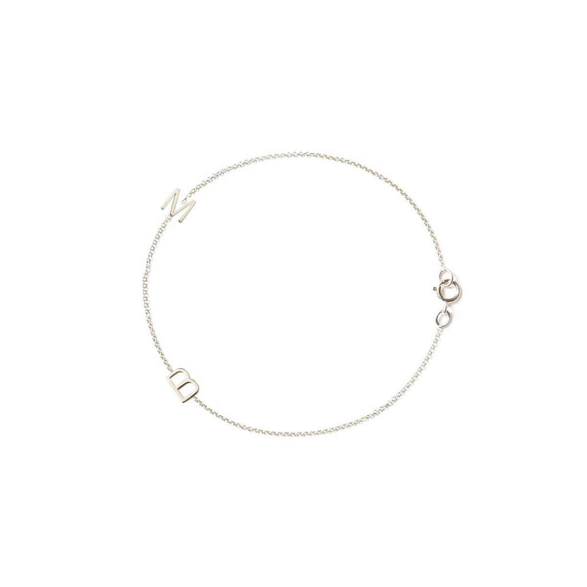 14K Gold 2 Letter & Charm Bracelet