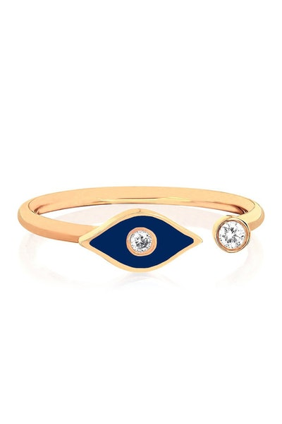 EF Collection 14K Yellow Gold Navy Enamel & Diamond Open Evil Eye Ring