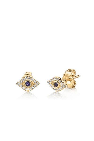 Sydney Evan Gold & Diamond Mini Bexel Evil Eye Stud Earrings