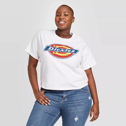 Target Women's Plus Size Dickies Logo Boxy Short Sleeve Cropped Graphic T-Shirt (Juniors')