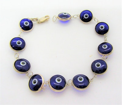Etsy Blue Evil Eye Glass Bracelet