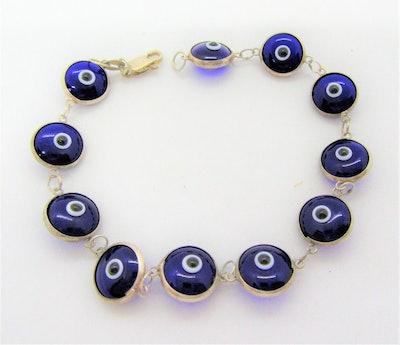 Etsy Blue Evil Eye Glass Bracelet
