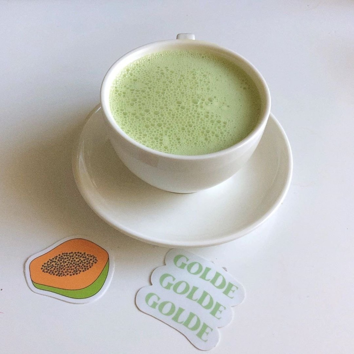 A picture of Golde's Matcha Turmeric Latte Blend. The brand is donating 100 percent of profits to th...