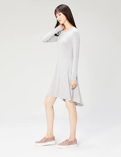 Daily Ritual Jersey Long-Sleeve Bateau-Neck Dress