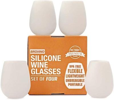Brovino Silicone Wine Glasses (4-Pack, 14 Ounces)
