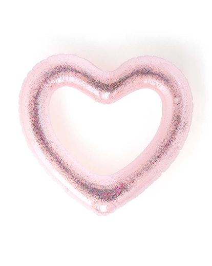 Beach Please! Jumbo Heart Innertube - Glitterbomb Pink