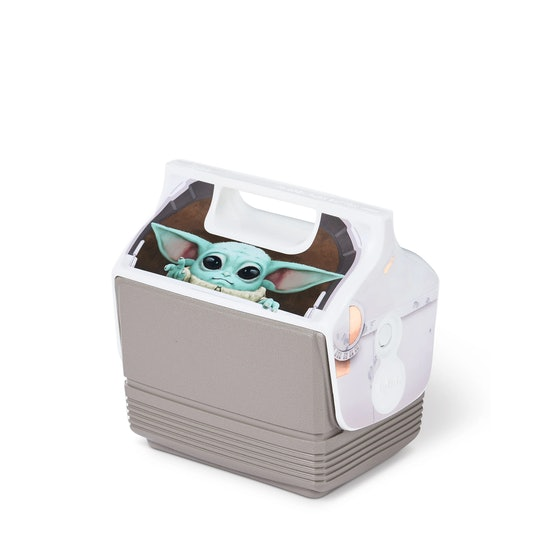 A classic Igloo cooler with handle top. On the front facing top slanted side, an image of The Child ...