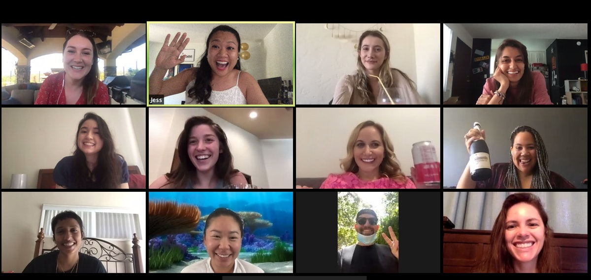 A happy group of friends talk on a Zoom chat.