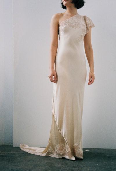 Vintage '30s Lace and Bias Cut Silk Dress