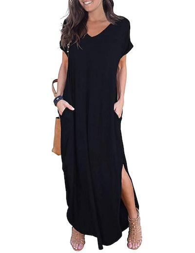 GRECERELLE Short Sleeve Split Maxi Dress