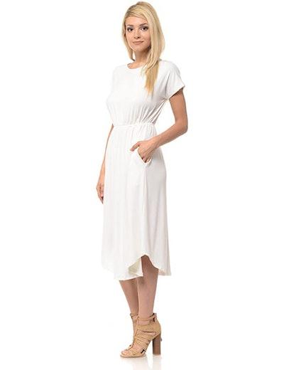 iconic luxe Women's Short Sleeve Flare Midi Dress