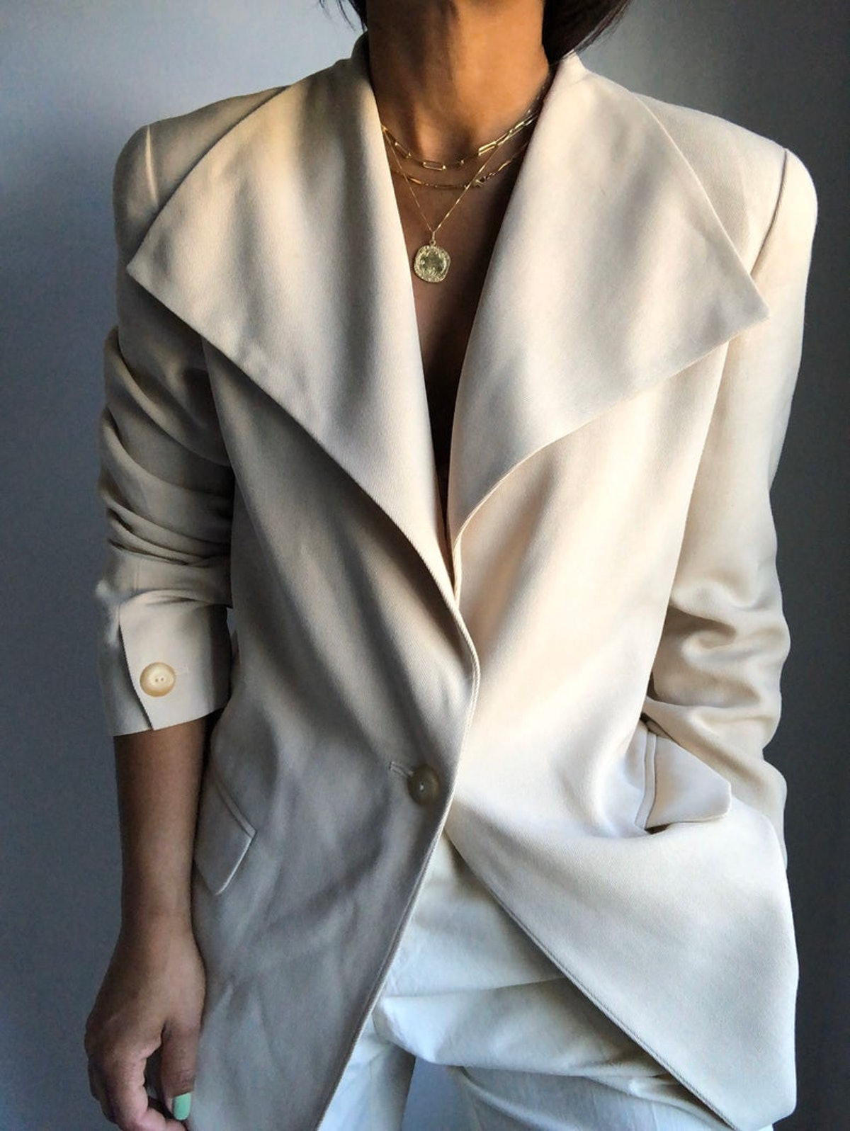 Vintage Essential '90s Max Mara Oversized Collar Sleek Blazer
