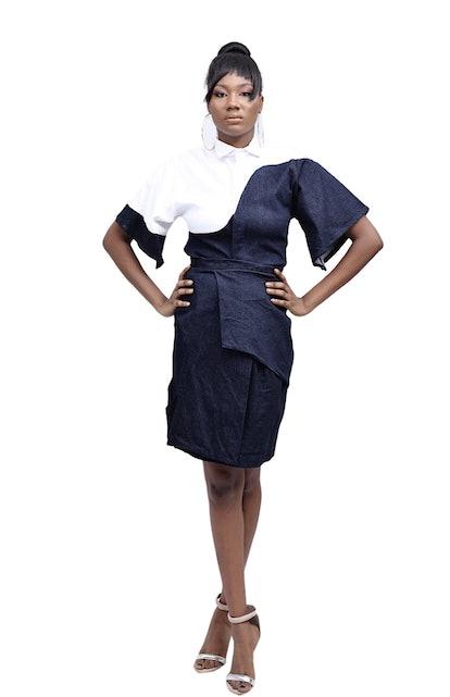 Fruché Contrast Detail Denim Shirt & Skirt Set